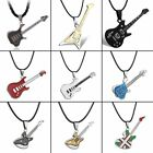 Women Men Stainless Steel Music Guitar Pendant Necklace Leather Chain Punk Style