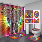 Colourful Elephant Bathroom Shower Curtain Toilet Rug Cover Bath Mat  ✫