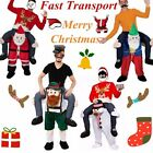 Christmas Mascot Costume Carry Fancy Piggy Ride Back On Dress Party  / NEW