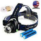 990000LM USB Rechargeable Zoomable Headlight LED Tactical Headlamp & Battery