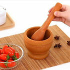Herbs Grinder Wooden Mortar Bowl Pestle Spice Crusher Guacamole Mixing Bowl
