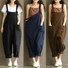 Casual Womens Overalls Cotton Linen Dungarees Jumpsuit Trousers Playsuits