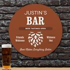 His Place Bar Beer & Drinking Lovers Personalized Round Wood Sign