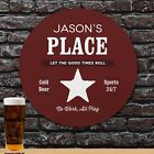 His Place Bar & Pub Cold Beer Drinking Customized Round Wood Sign