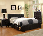 NEW KING QUEEN FULL WOOD LEATHER PLATFORM BED 6 DRAWERS