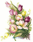 Ceramic Decals Tulip Floral Bouquet Pinks/Yellow