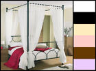 """Tab Top Voile (4) Four Poster Bed Curtain Set. 8 Panels 58"""" wide x 81"""" Drop."""
