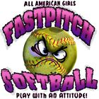 "Girls Sports ""FASTPITCH SOFTBALL..PLAY WITH ATTITUDE"" 50/50 Gildan/Jerzees T"
