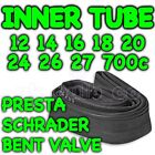 "Cycle Inner Tube Sizes 10"" 12"" 14"" 16"" 18"" 20"" 24"" 26"" 700c 700"