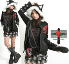 Unisex Japan Punk Kitten Rockabilly Butterfly Hell Camden Hoodie Jacket + Tail
