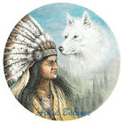 Ceramic Decals Native American Indian and White Wolf