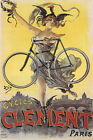 CYCLES CLEMENT PARIS BIKE LIGHT BICYCLE GIRL WITH COCK HAT VINTAGE POSTER REPRO