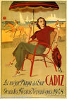CADIZ SPAIN SUMMER 1948 BEACH HORSE RIDING COUPLE DANCING VINTAGE POSTER REPRO