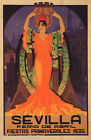APRIL 1935 SEVILLA SPRING SPAIN FIESTAS SPANISH DANCER VINTAGE POSTER REPRO