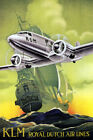 AIRPLANE KLM ROYAL DUTCH AIRLINES SHIP NETHERLANDS TRAVEL VINTAGE POSTER REPRO