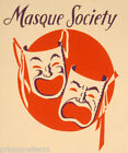 AMERICAN MASK MASQUE SOCIETY HAPPY SAD CARNIVAL VINTAGE POSTER REPRO