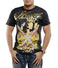 NEW HUSTLER GOLD CROWN 2 KNIFES SKULL BLACK T-SHIRT NWT