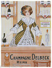 FRENCH CHAMPAGNE DELBECK REIMS DRINKS WOMAN BARTENDER VINTAGE POSTER REPRO