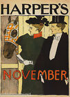 HARPER'S NOVEMBER MAGAZINE COVER HORSE STABLE COUPLE VINTAGE POSTER REPRO