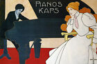 PIANOS KAPS MUSIC PLAYING MAESTRO VINTAGE REPRO POSTER