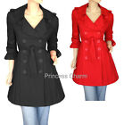 Princess Charm Black Trench Coat Jacket 3/4 Sleeve Womens Size 8 10 12 14 16 18