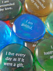Colored Glass Affirmation Imprinted Word Stones