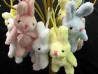 Rabbit key tassel    Bunny on a rope small soft toy in polyester fabric