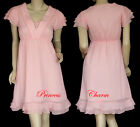 Retro Style Pink Chiffon Cocktail Summer Shift Dress Cap Sleeve AU Size 8 10 New
