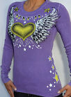 Sinful by Affliction - HEART WINGS - Woman's Long Sleeve Thermal - MEW - Lilac