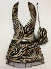 Size 8-14 Tiger Print Cave Girl Waistcoat Pleated Tutu Pouch Fancy Dress Womens