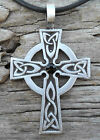 PEWTER Wales CELTIC CROSS Irish Gothic JET BLACK Onyx SWAROVSKI Crystal Pendant