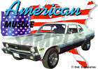 1972 White Chevy Nova SS Sedan Custom Hot Rod USA T-Shirt 72, Muscle Car Tee's