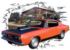 1967 Orange Plymouth BarraCuda Hot Rod Garage T-Shirt 67, Muscle Car Tee's