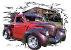 1938 Red Willys Pickup Truck Custom Hot Rod Garage T-Shirt 38, Muscle Car Tee's