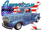 1946 Blue Chevy Pickup Truck Custom Hot Rod USA T-Shirt 46, Muscle Car Tee's