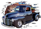 1949 Black Chevy Pickup Truck Custom Hot Rod Diner T-Shirt 49, 50, Muscle Car T