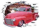 1949 Red Chevy Pickup Truck Custom Hot Rod Diner T-Shirt 49,50, Muscle Car Tee