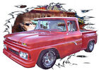 1962 Red GMC Pickup Truck Custom Hot Rod Diner T-Shirt 62, Muscle Car Tee's