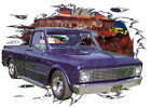 1967 Blue Chevy Pickup Truck c Custom Hot Rod Diner T-Shirt 67, Muscle Car Tee's