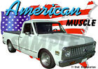 1971 White Chevy Pickup Truck Custom Hot Rod USA T-Shirt 71, Muscle Car Tee's