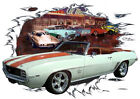 1969 White Chevy Camaro Convertible Hot Rod Diner T-Shirt 69, Muscle Car Tee's