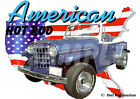1950 Blue Willys Jeepster Custom Hot Rod USA T-Shirt 50, Muscle Car Tee's