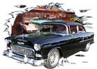 1955 Black Chevy 2 Door Sedan Custom Hot Rod Diner T-Shirt 55, Muscle Car Tee's