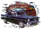 1957 Black Chevy Bel Air a Custom Hot Rod Diner T-Shirt 57, Muscle Car Tee's