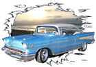 1957 Blue Chevy Bel Air a Custom Hot Rod Sun Set T-Shirt 57, Muscle Car Tee's