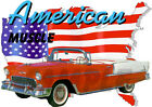 1955 Red Chevy Bel Air Convertible Custom Hot Rod USA T-Shirt 55, Muscle Car Tee