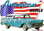 1957 Blue Chevy Nomad Station Wagon Custom Hot Rod USA T-Shirt 57, Muscle Car T