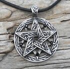 PEWTER Pentacle PENTAGRAM Celtic Pagan Druid Gothic BLACK ONYX Crystal Pendant