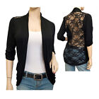Jr Plus Size Lace Back Open Front Cardigan Black