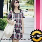 Mod Vintage Plaid Buffalo Check Red Dress L-XL
